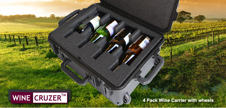 wine carrier holds 4 bottles and has wheels and pull handle